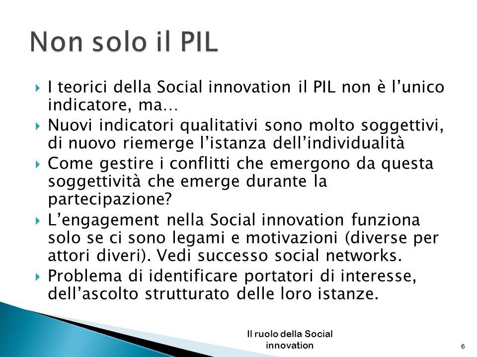 I teorici della Social innovation il PIL non è lunico indicatore, ma… Nuovi indicatori qualitativi sono molto soggettivi, di nuovo riemerge listanza d