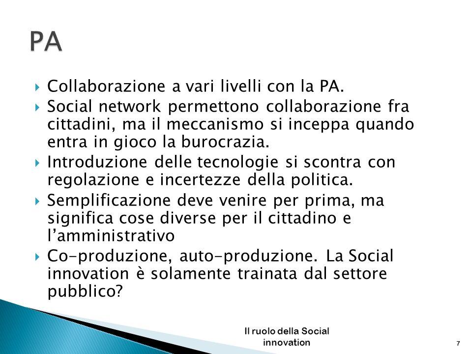Collaborazione a vari livelli con la PA. Social network permettono collaborazione fra cittadini, ma il meccanismo si inceppa quando entra in gioco la