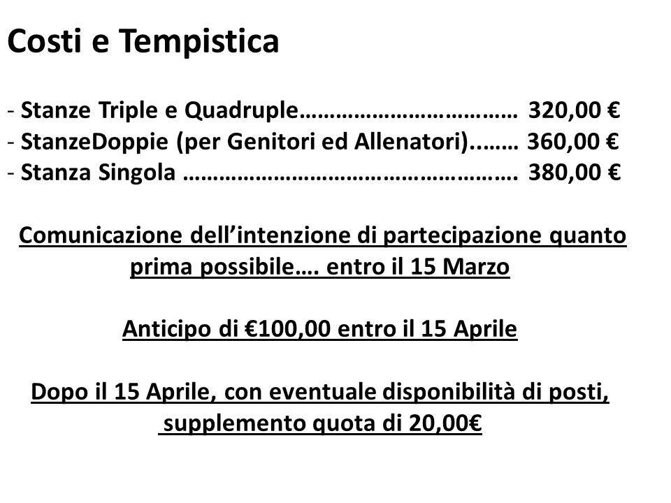 Costi e Tempistica - Stanze Triple e Quadruple……………………………… 320,00 - StanzeDoppie (per Genitori ed Allenatori)..…… 360,00 - Stanza Singola ………………………………