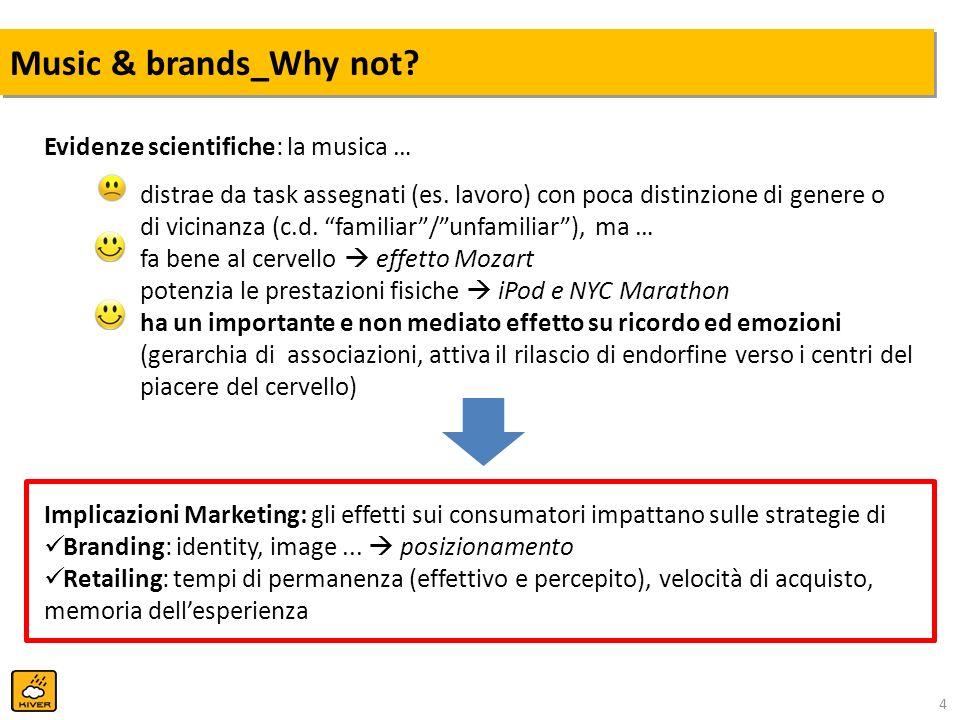 4 Music & brands_Why not? Evidenze scientifiche: la musica … distrae da task assegnati (es. lavoro) con poca distinzione di genere o di vicinanza (c.d