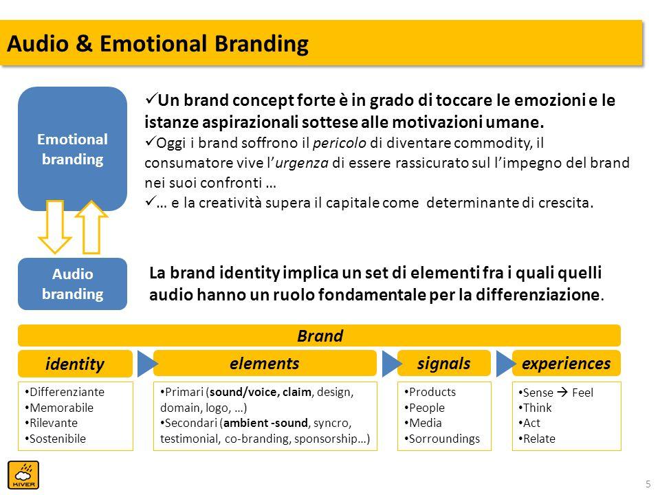 5 Audio & Emotional Branding Emotional branding Audio branding Un brand concept forte è in grado di toccare le emozioni e le istanze aspirazionali sot