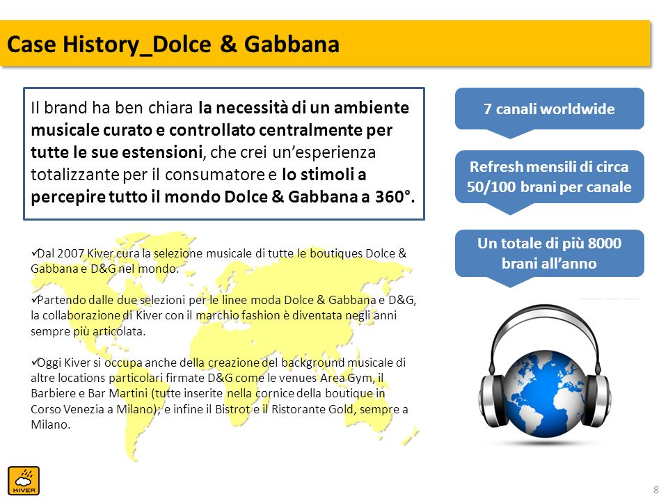 9 Case History_Dolce & Gabbana Ogni playlist Dolce & Gabbana ha un mood musicale specifico pensato per ogni fascia oraria giornaliera: CanaleMood Familiar (stima, avg) Unfamiliar (stima, avg) Dolce & Gabbanaelectro pop-rock, alternative/new, jazz/lounge70%30% D&Gr&b, soul, new jazz, pop/rock, deep-house, elettronica<20%>80% Bar Martinipop, chillout, lounge, nubossa<20%>80% Area Look Gympop, indie-rock, elettronica>80%<20% Barbierepop>80%<20% GOLD Bistrotpop, new acoustic>80%<20% GOLD Restaurantjazz, nujazz, soul, lounge leggero<20%>80% 40% c.a.