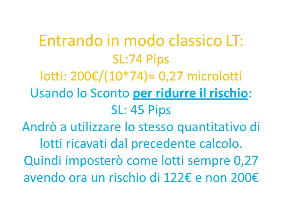 Entrando in modo classico LT: SL:74 Pips lotti: 200/(10*74)= 0,27 microlotti Usando lo Sconto per ridurre il rischio: SL: 45 Pips Andrò a utilizzare lo stesso quantitativo di lotti ricavati dal precedente calcolo.