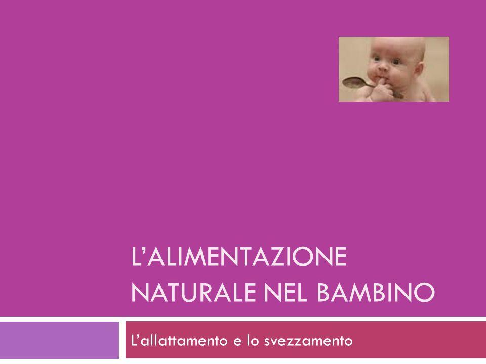 LALIMENTAZIONE NATURALE NEL BAMBINO Lallattamento e lo svezzamento