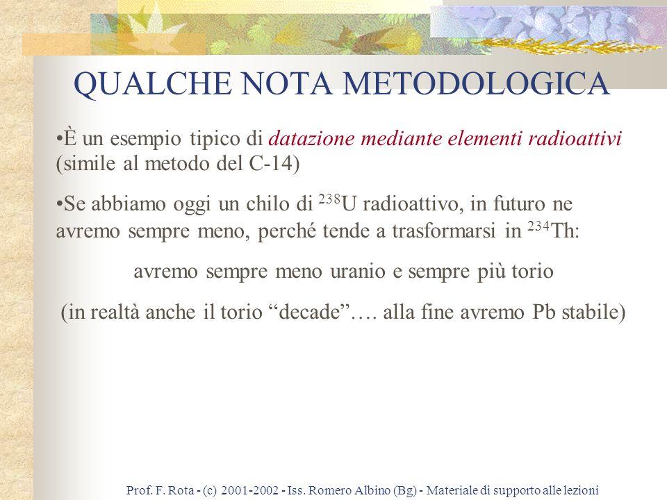 Prof. F. Rota - (c) 2001-2002 - Iss. Romero Albino (Bg) - Materiale di supporto alle lezioni QUANDO È NATA LA TERRA? UNAPPLICAZIONE INTERESSANTE DELLE