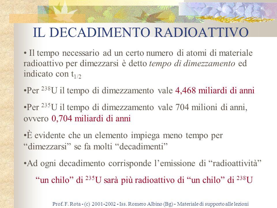 Prof. F. Rota - (c) 2001-2002 - Iss. Romero Albino (Bg) - Materiale di supporto alle lezioni QUALCHE NOTA METODOLOGICA È un esempio tipico di datazion
