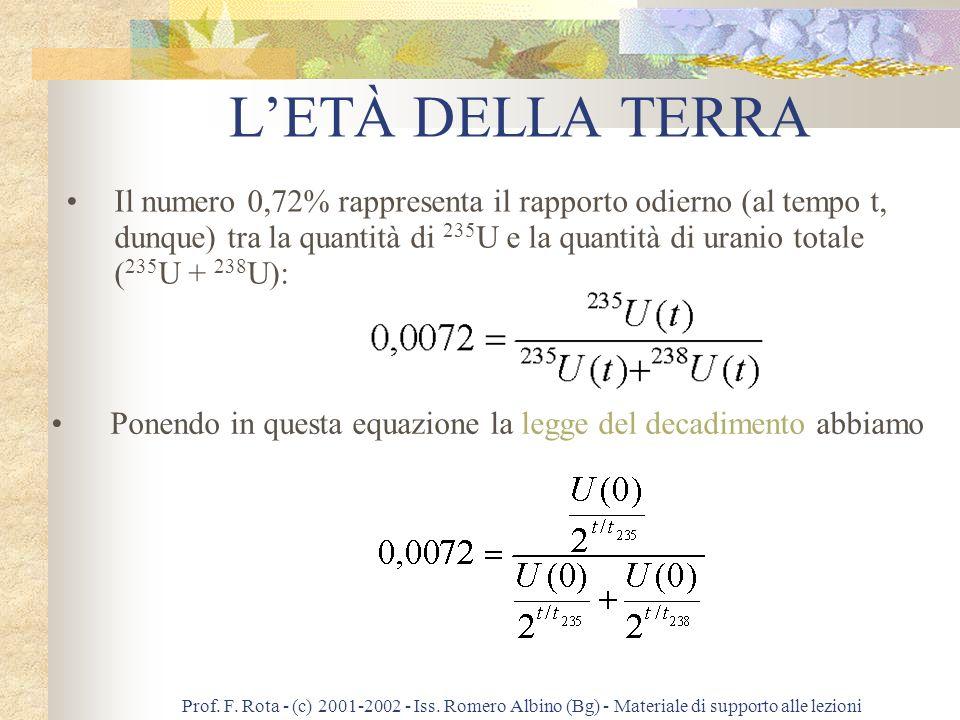 Prof. F. Rota - (c) 2001-2002 - Iss. Romero Albino (Bg) - Materiale di supporto alle lezioni La legge del decadimento radioattivo dice che ove U(0) è