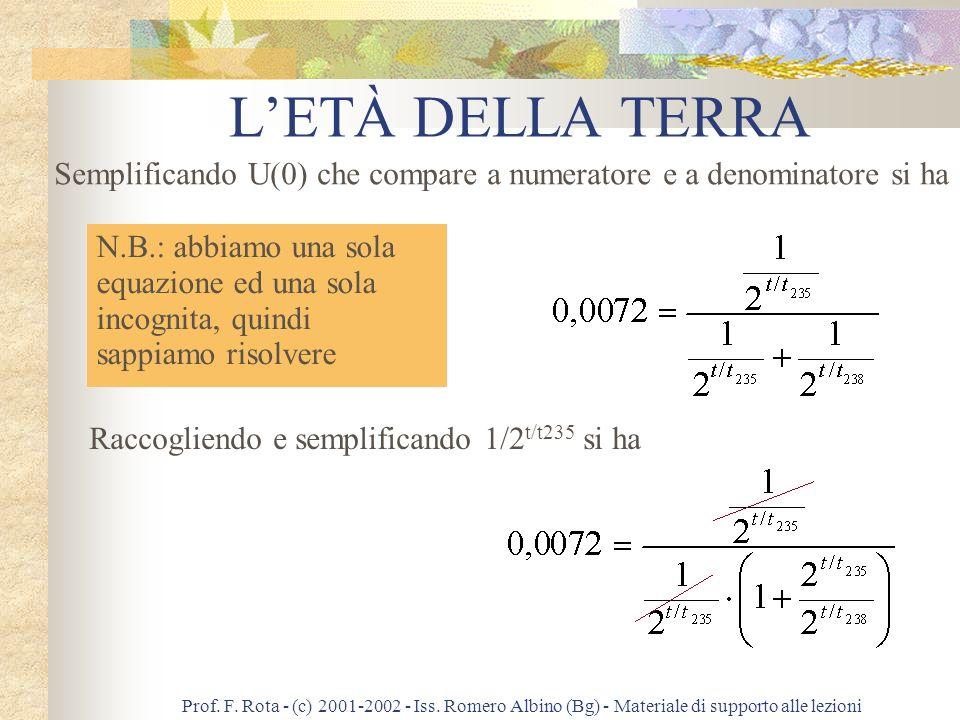 Prof. F. Rota - (c) 2001-2002 - Iss. Romero Albino (Bg) - Materiale di supporto alle lezioni LETÀ DELLA TERRA Il numero 0,72% rappresenta il rapporto