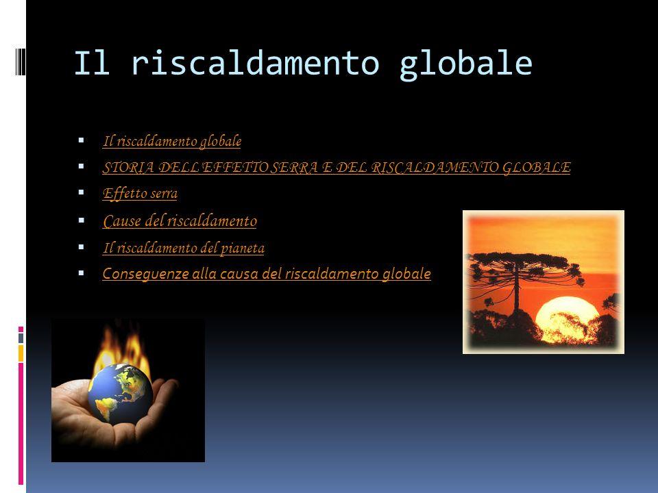 Il riscaldamento globale STORIA DELL'EFFETTO SERRA E DEL RISCALDAMENTO GLOBALE Effetto serra Cause del riscaldamento Il riscaldamento del pianeta Cons