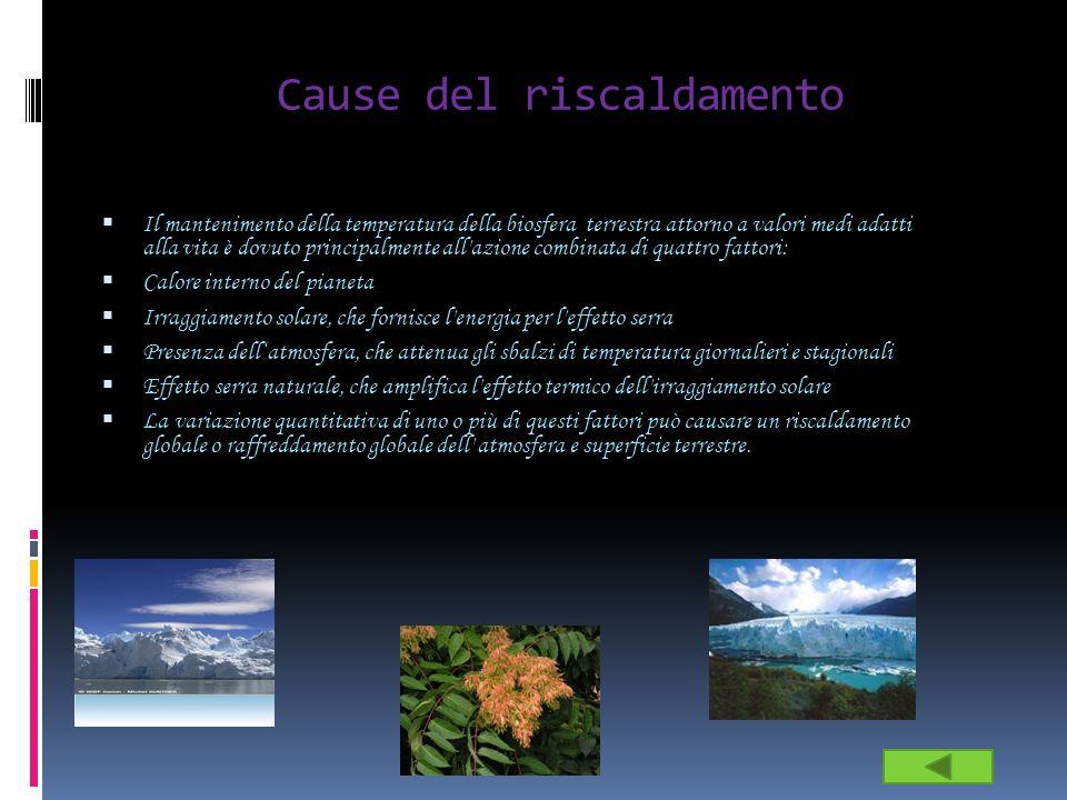 Cause del riscaldamento Il mantenimento della temperatura della biosfera terrestra attorno a valori medi adatti alla vita è dovuto principalmente all'
