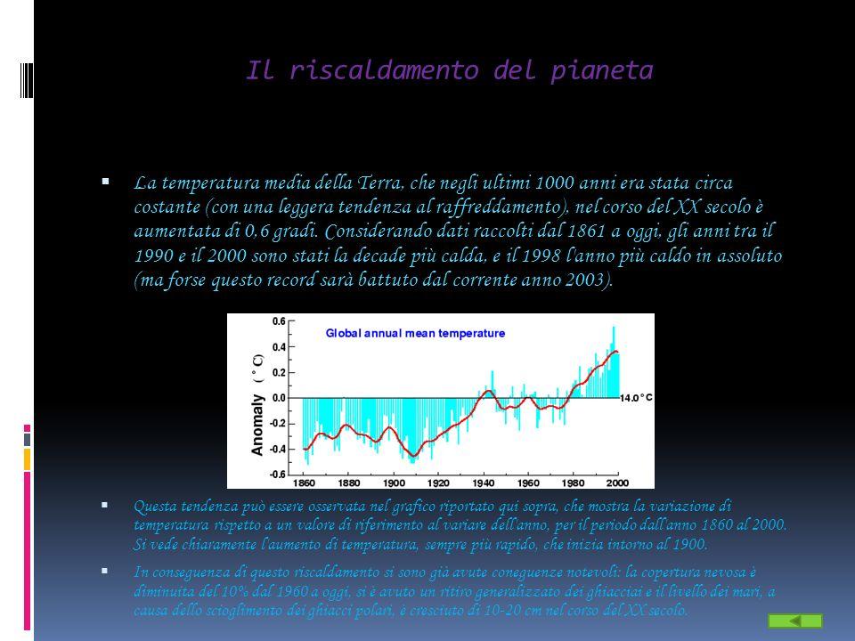 Il riscaldamento del pianeta La temperatura media della Terra, che negli ultimi 1000 anni era stata circa costante (con una leggera tendenza al raffre
