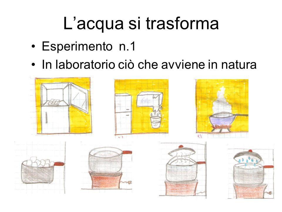 Lacqua si trasforma Esperimento n.1 In laboratorio ciò che avviene in natura