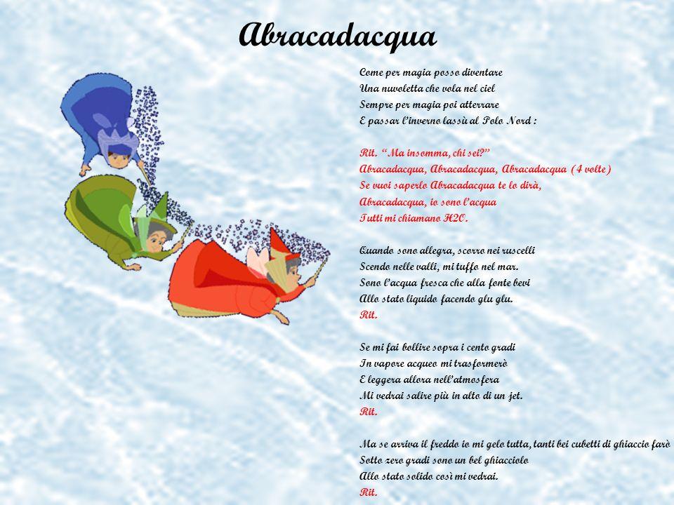 Abracadacqua Come per magia posso diventare Una nuvoletta che vola nel ciel Sempre per magia poi atterrare E passar linverno lassù al Polo Nord : Rit.