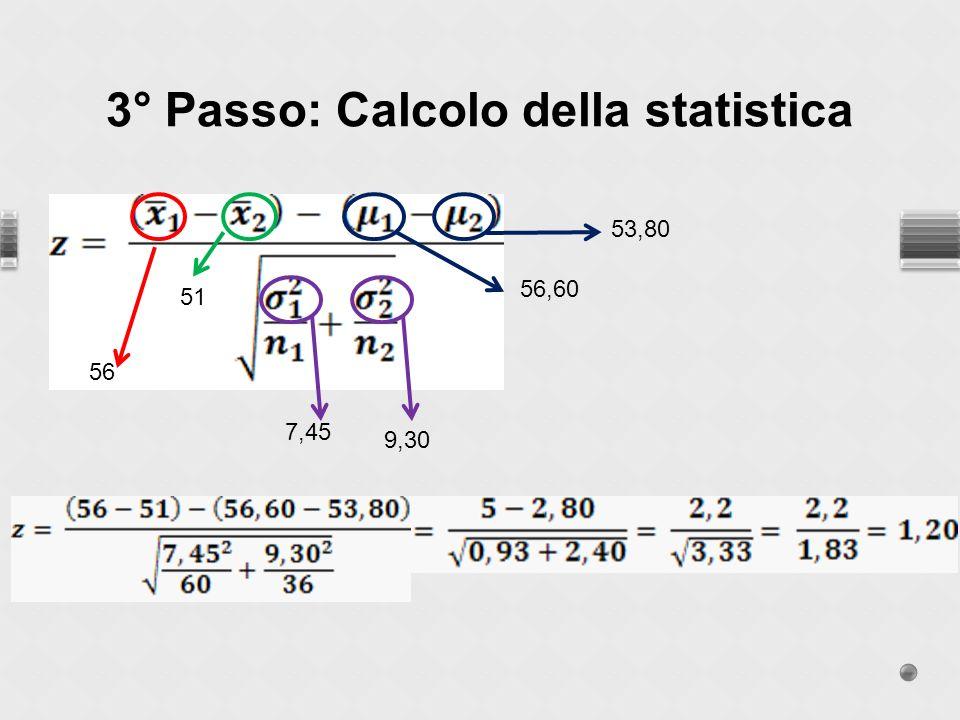 3° Passo: Calcolo della statistica 56 51 56,60 53,80 7,45 9,30