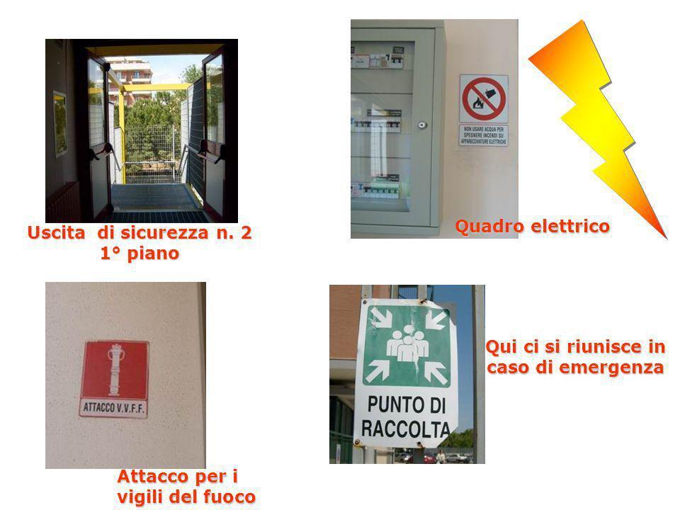 Attacco per i vigili del fuoco Uscita di sicurezza n. 2 1° piano Quadro elettrico Qui ci si riunisce in caso di emergenza