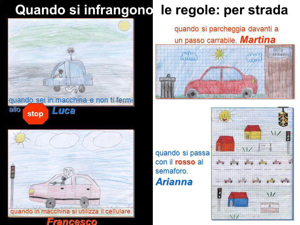 Quando si infrangono le regole: per strada quando si parcheggia davanti a un passo carrabile. Martina quando si passa con il rosso al semaforo.. Arian