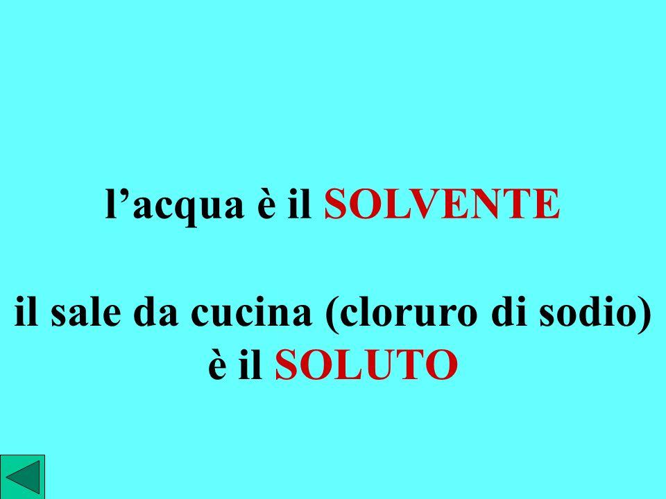 usualmente, quando si parla di soluzioni liquide, viene chiamato SOLVENTE: il componente presente in quantità maggiore SOLUTO: il componente presente