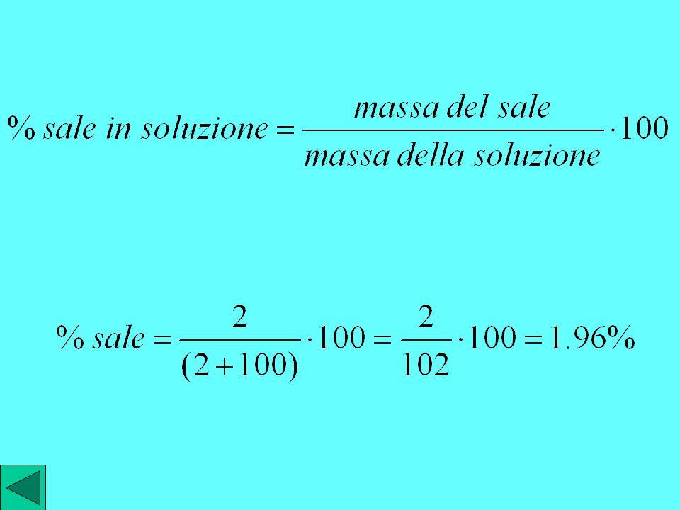 possiamo esprimere la concentrazione del sale in soluzione mediante la percentuale in peso