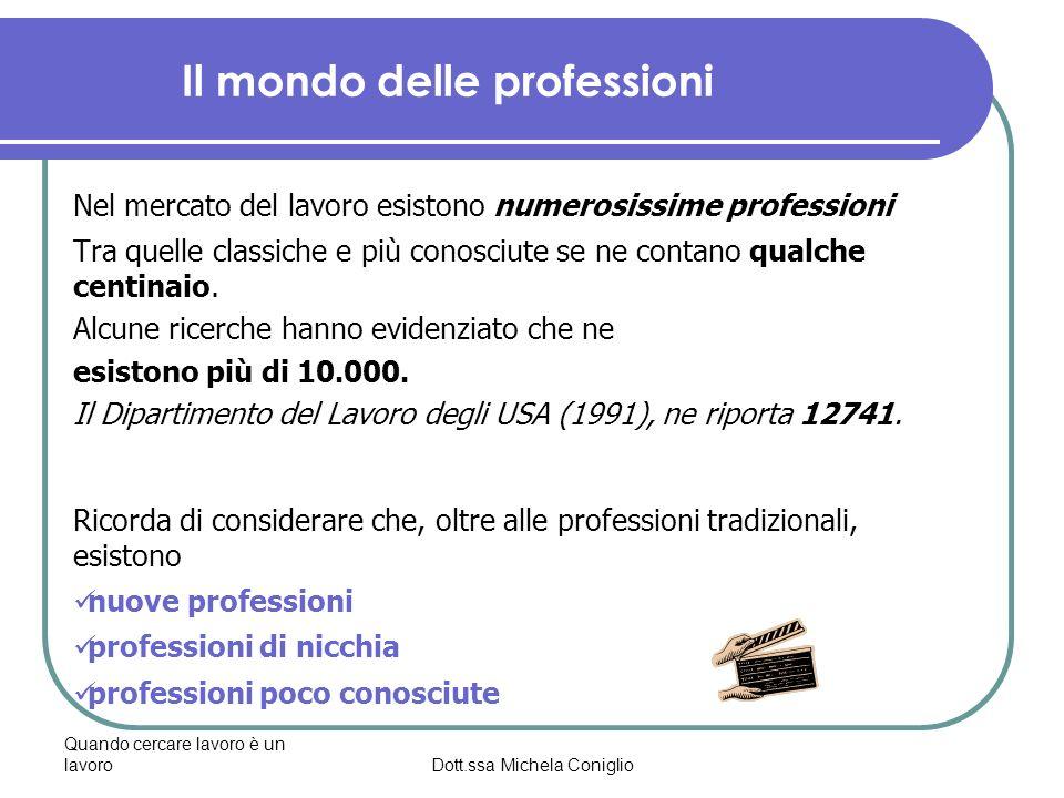 Quando cercare lavoro è un lavoroDott.ssa Michela Coniglio Il mondo delle professioni Nel mercato del lavoro esistono numerosissime professioni Tra qu