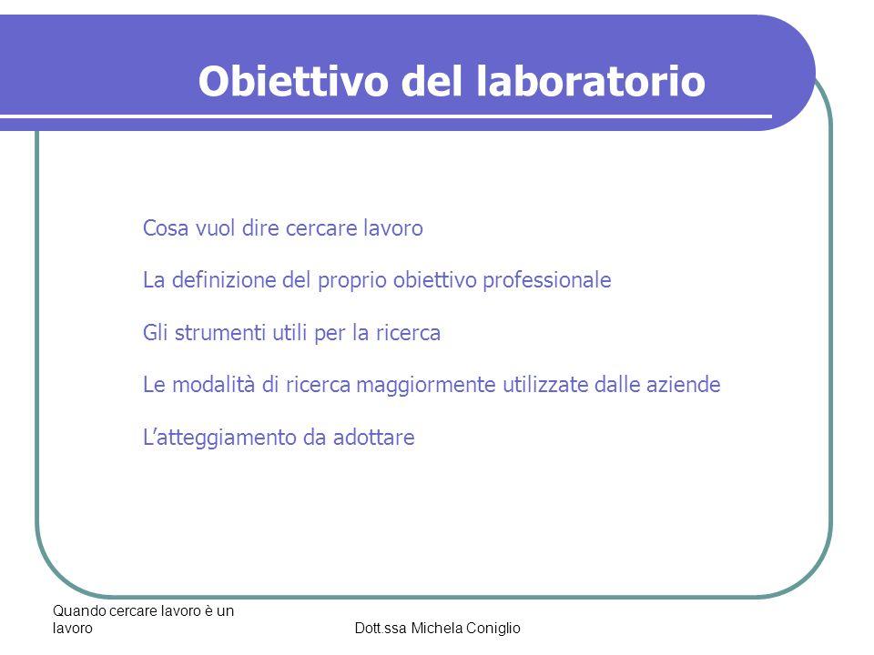Quando cercare lavoro è un lavoroDott.ssa Michela Coniglio Obiettivo del laboratorio Cosa vuol dire cercare lavoro La definizione del proprio obiettiv