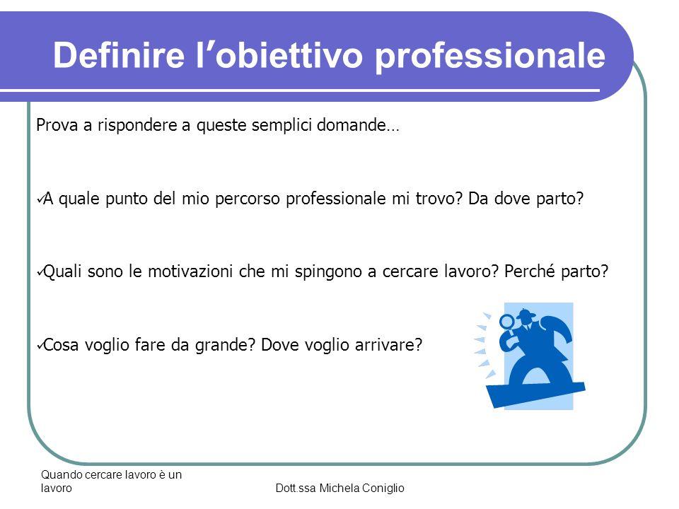 Quando cercare lavoro è un lavoroDott.ssa Michela Coniglio L atteggiamento giusto Il pensiero positivo La responsabilizzazione Lattivazione La consapevolezza