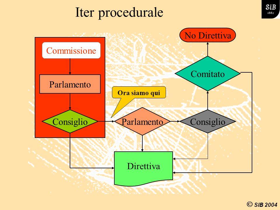 SIB 2004 Direttiva Commissione Consiglio Parlamento Consiglio Comitato Iter procedurale Ora siamo qui No Direttiva Parlamento