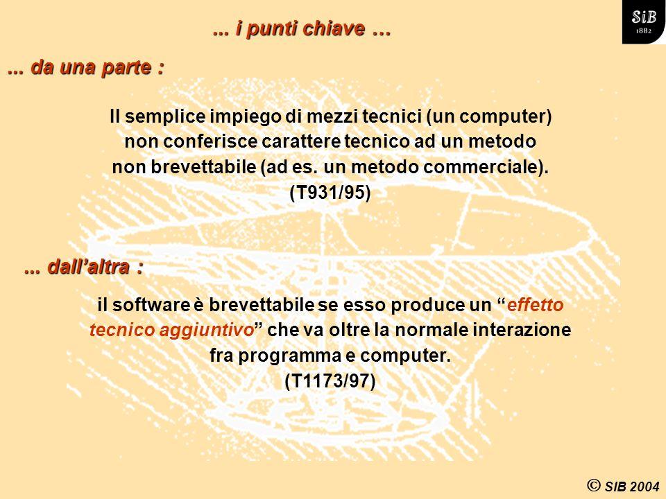 SIB 2004 Il semplice impiego di mezzi tecnici (un computer) non conferisce carattere tecnico ad un metodo non brevettabile (ad es.