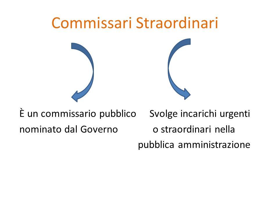 Commissari Straordinari È un commissario pubblico Svolge incarichi urgenti nominato dal Governo o straordinari nella pubblica amministrazione