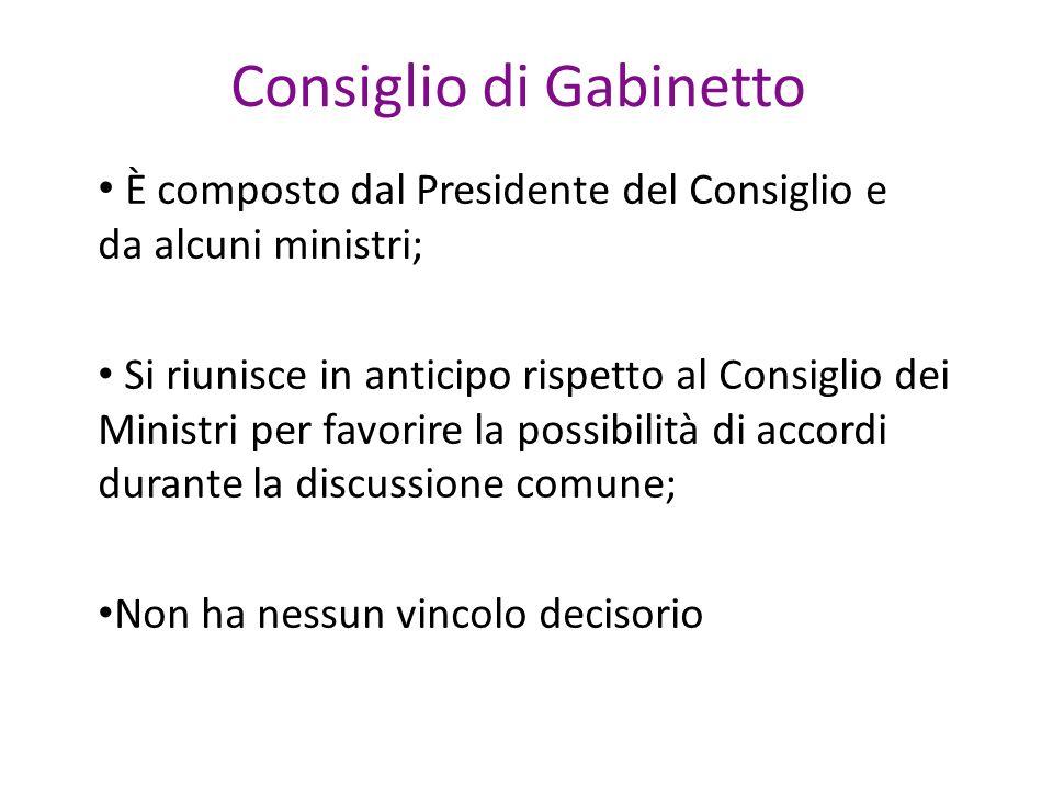 Consiglio di Gabinetto È composto dal Presidente del Consiglio e da alcuni ministri; Si riunisce in anticipo rispetto al Consiglio dei Ministri per favorire la possibilità di accordi durante la discussione comune; Non ha nessun vincolo decisorio