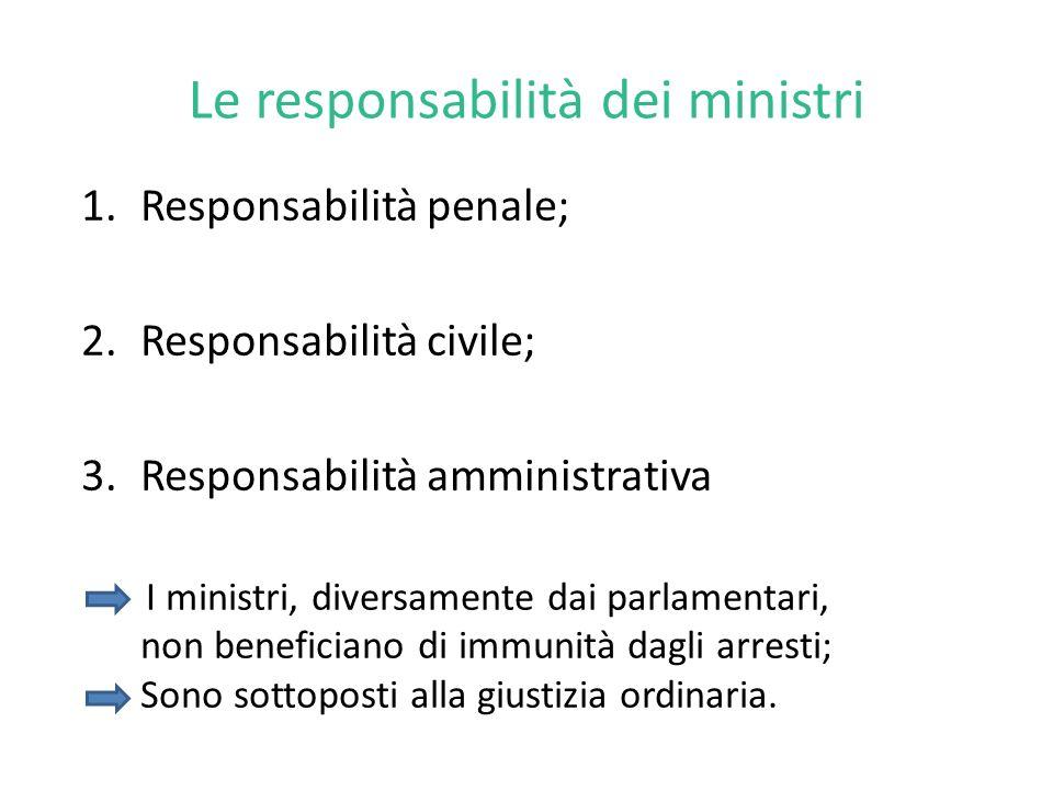 Le responsabilità dei ministri 1.Responsabilità penale; 2.Responsabilità civile; 3.Responsabilità amministrativa I ministri, diversamente dai parlamentari, non beneficiano di immunità dagli arresti; Sono sottoposti alla giustizia ordinaria.