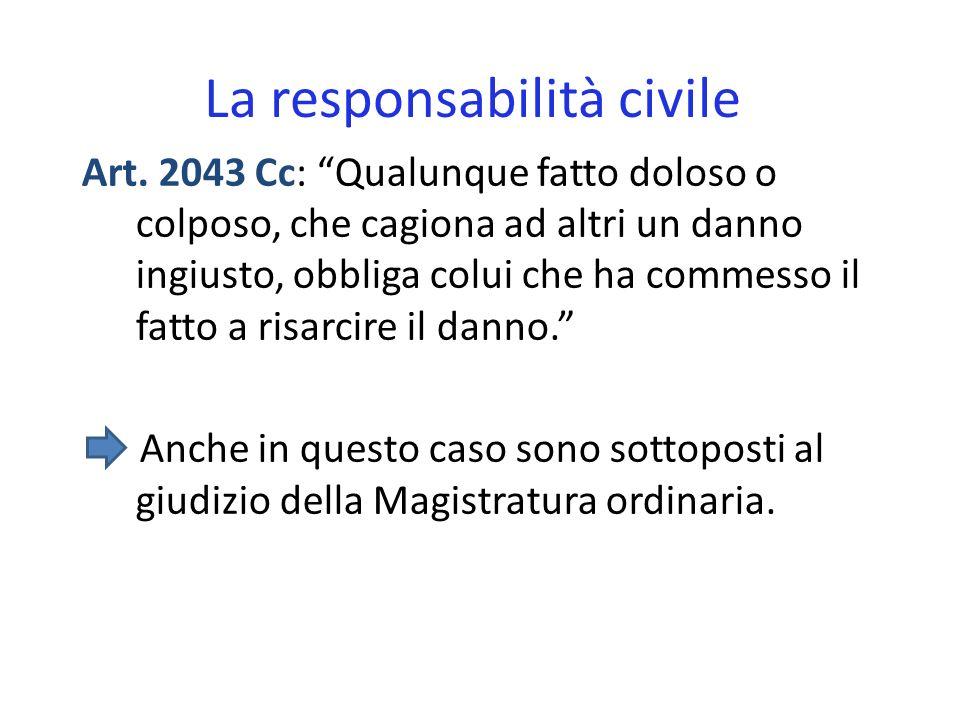 La responsabilità civile Art. 2043 Cc: Qualunque fatto doloso o colposo, che cagiona ad altri un danno ingiusto, obbliga colui che ha commesso il fatt