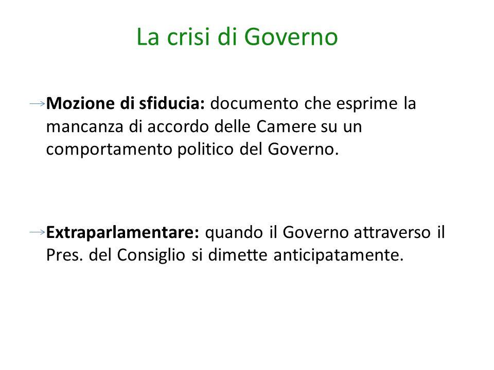 La crisi di Governo Mozione di sfiducia: documento che esprime la mancanza di accordo delle Camere su un comportamento politico del Governo. Extraparl