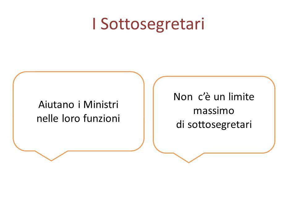 I Sottosegretari Aiutano i Ministri nelle loro funzioni Non cè un limite massimo di sottosegretari