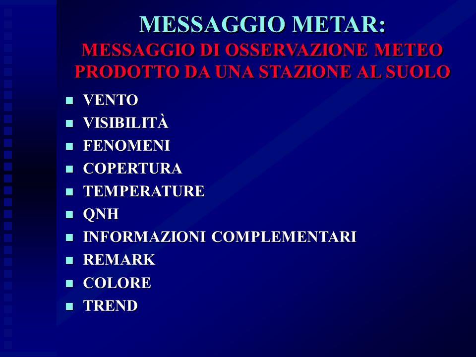 MESSAGGIO METAR: MESSAGGIO DI OSSERVAZIONE METEO PRODOTTO DA UNA STAZIONE AL SUOLO n VENTO n VISIBILITÀ n FENOMENI n COPERTURA n TEMPERATURE n QNH n I