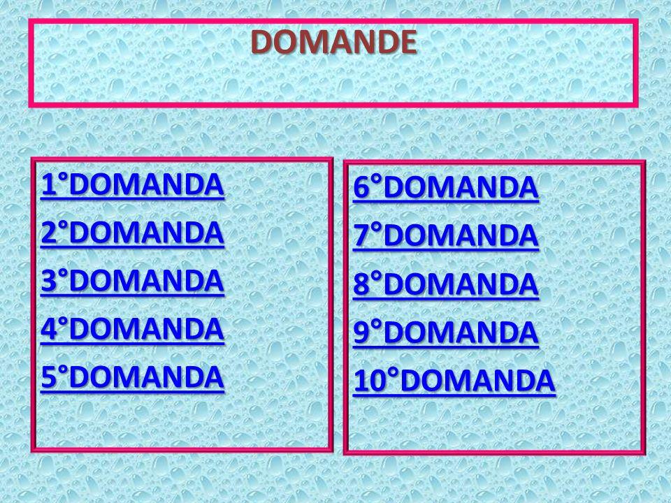 DOMANDE 6°DOMANDA 7°DOMANDA 8°DOMANDA 9°DOMANDA 10°DOMANDA