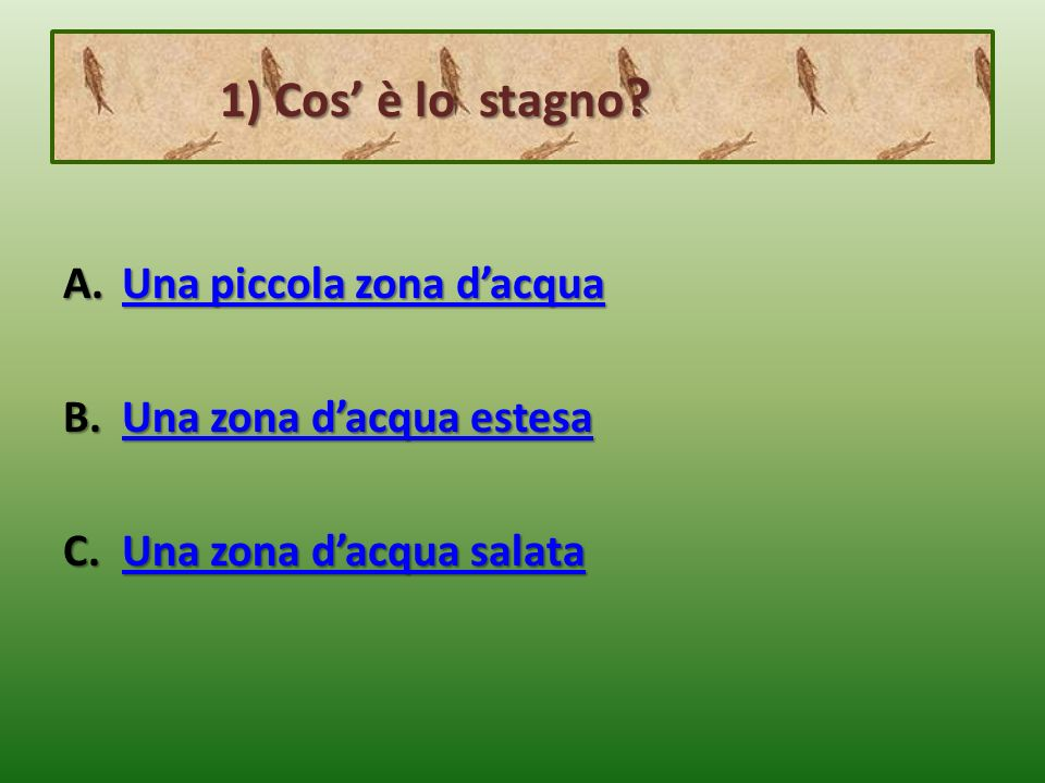 2) Comè lacqua dello stagno.2) Comè lacqua dello stagno.