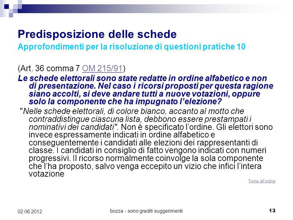 bozza - sono graditi suggerimenti13 02.06.2012 Predisposizione delle schede Approfondimenti per la risoluzione di questioni pratiche 10 (Art. 36 comma