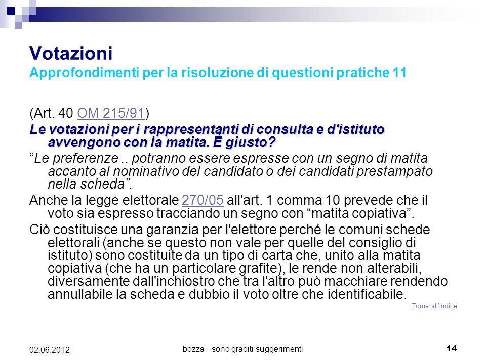 bozza - sono graditi suggerimenti14 02.06.2012 Votazioni Approfondimenti per la risoluzione di questioni pratiche 11 (Art. 40 OM 215/91)OM 215/91 Le v