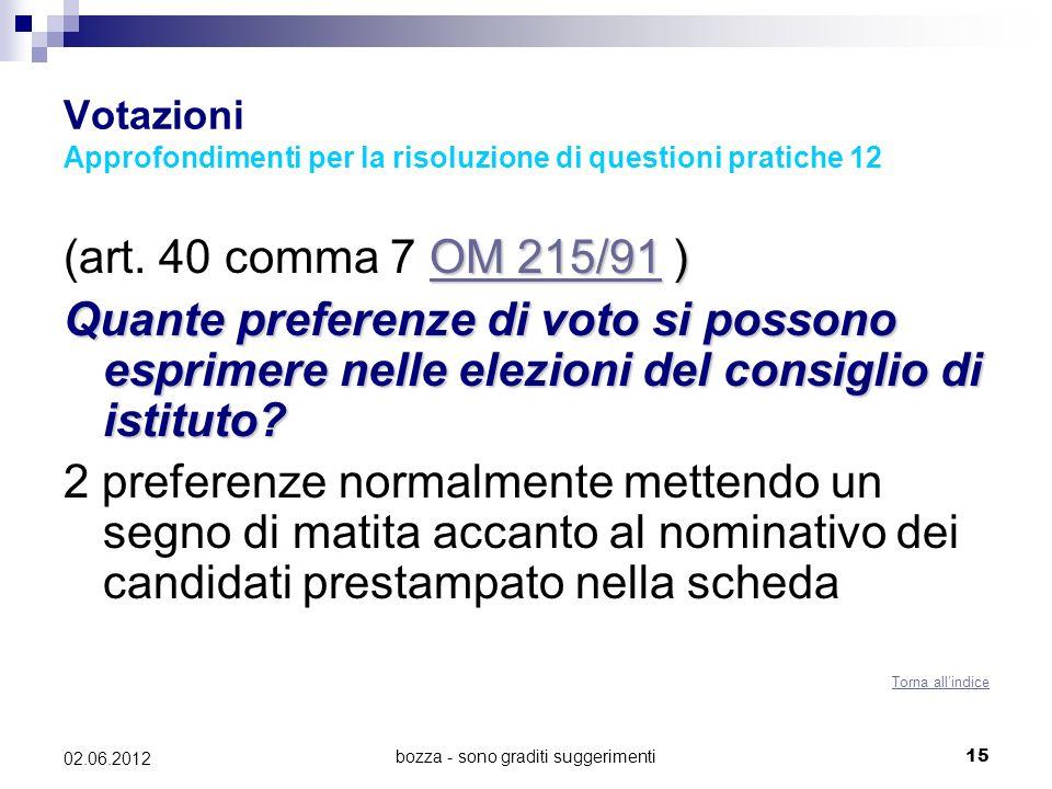 bozza - sono graditi suggerimenti15 02.06.2012 Votazioni Approfondimenti per la risoluzione di questioni pratiche 12 OM 215/91OM 215/91 ) (art. 40 com