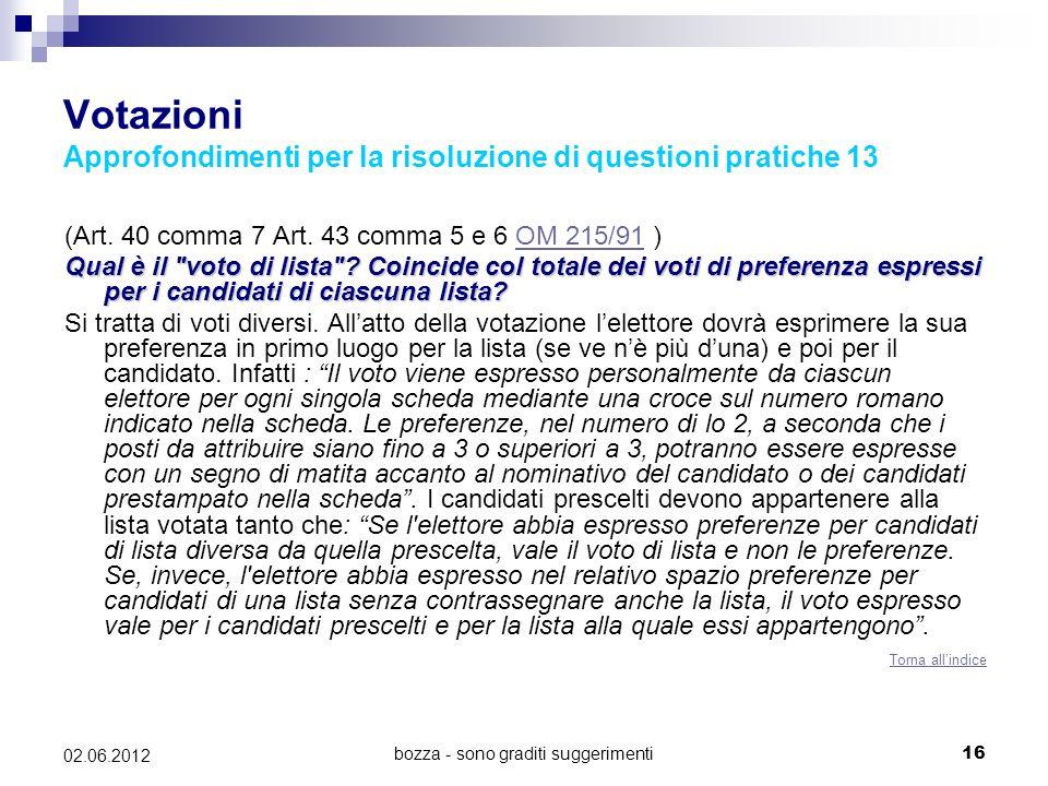 bozza - sono graditi suggerimenti16 02.06.2012 Votazioni Approfondimenti per la risoluzione di questioni pratiche 13 (Art. 40 comma 7 Art. 43 comma 5