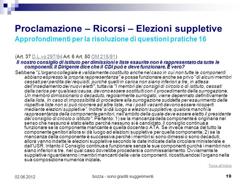bozza - sono graditi suggerimenti19 02.06.2012 Proclamazione – Ricorsi – Elezioni suppletive Approfondimenti per la risoluzione di questioni pratiche