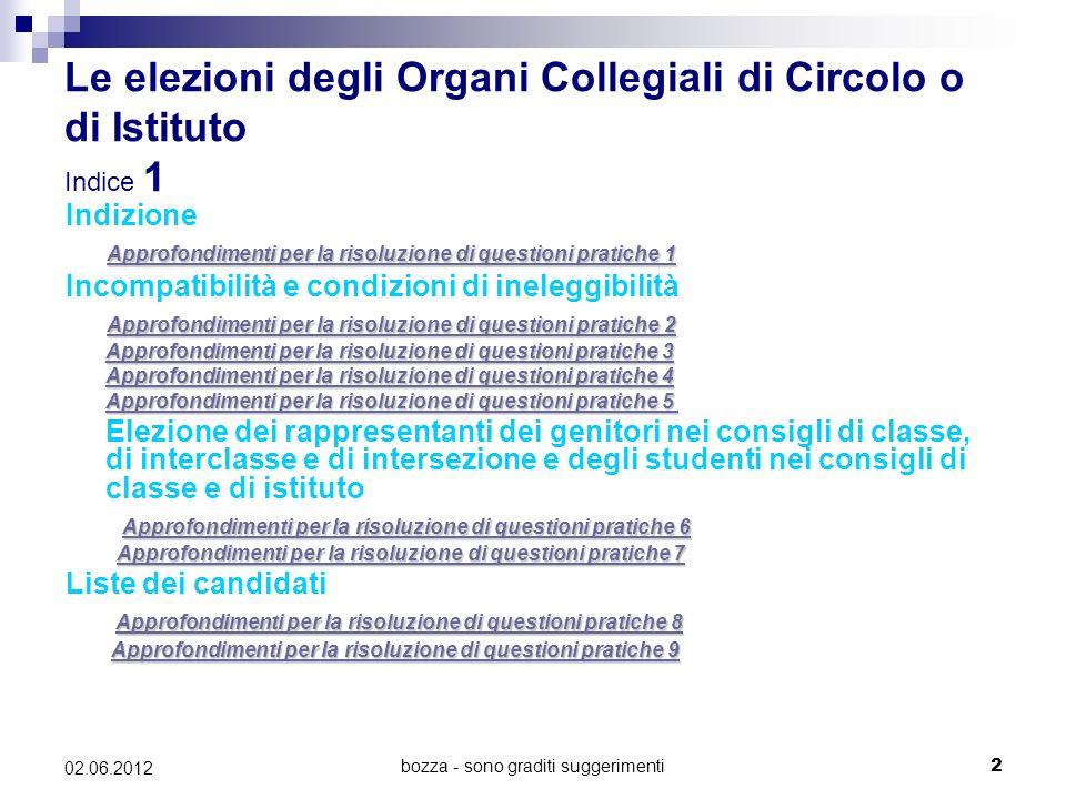 bozza - sono graditi suggerimenti13 02.06.2012 Predisposizione delle schede Approfondimenti per la risoluzione di questioni pratiche 10 (Art.