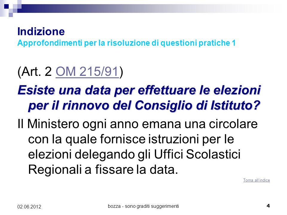 bozza - sono graditi suggerimenti4 02.06.2012 Indizione Approfondimenti per la risoluzione di questioni pratiche 1 (Art. 2 OM 215/91)OM 215/91 Esiste