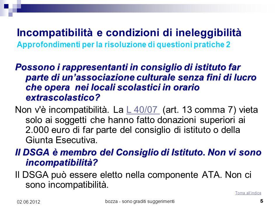 bozza - sono graditi suggerimenti5 02.06.2012 Incompatibilità e condizioni di ineleggibilità Approfondimenti per la risoluzione di questioni pratiche