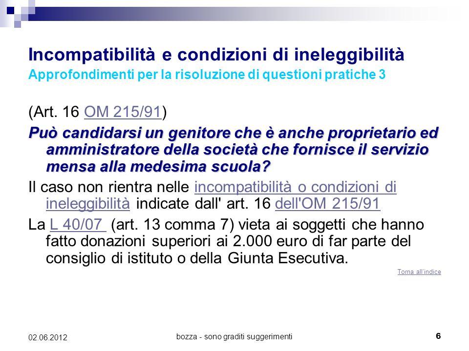 bozza - sono graditi suggerimenti6 02.06.2012 Incompatibilità e condizioni di ineleggibilità Approfondimenti per la risoluzione di questioni pratiche