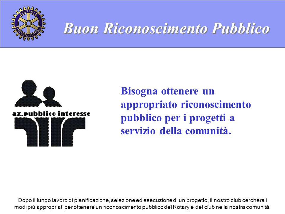 Buon Riconoscimento Pubblico Bisogna ottenere un appropriato riconoscimento pubblico per i progetti a servizio della comunità.