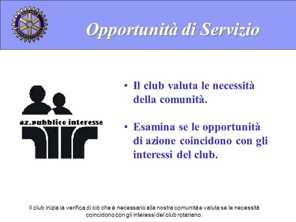 Opportunità di Servizio Il club valuta le necessità della comunità.