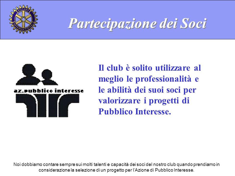 Il club è solito utilizzare al meglio le professionalità e le abilità dei suoi soci per valorizzare i progetti di Pubblico Interesse.