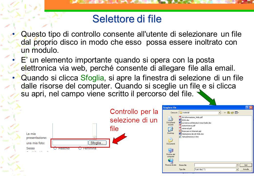 Selettore di file Questo tipo di controllo consente all utente di selezionare un file dal proprio disco in modo che esso possa essere inoltrato con un modulo.