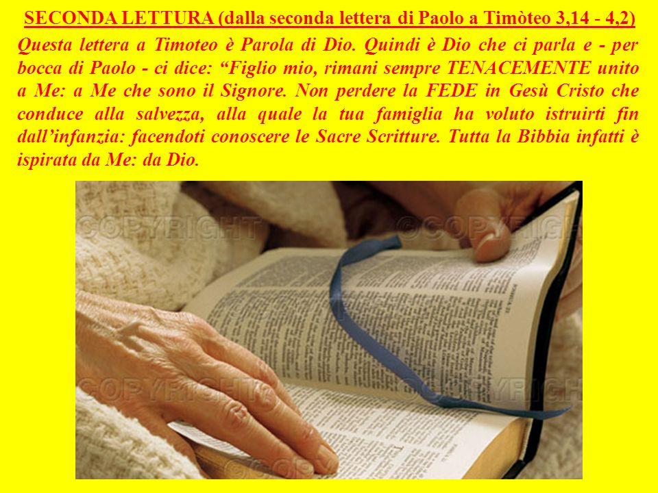 SECONDA LETTURA (dalla seconda lettera di Paolo a Timòteo 3,14 - 4,2) Questa lettera a Timoteo è Parola di Dio.